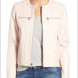 Cole Haan Pink Collarless Leather Jacket -Sz Large